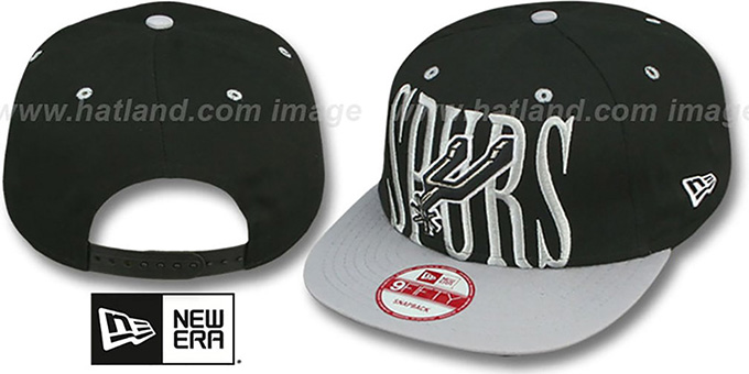 Spurs 'STEP-ABOVE SNAPBACK' Black-Grey Hat by New Era : pictured without stickers that these products are shipped with