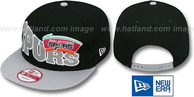 Spurs 'STOKED SNAPBACK' Black-Grey Hat by New Era : pictured without stickers that these products are shipped with