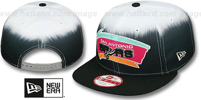 Spurs 'SUBLENDER SNAPBACK' Black-White Hat by New Era : pictured without stickers that these products are shipped with