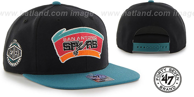 Spurs 'SURE-SHOT SNAPBACK' Black-Teal Hat by Twins 47 Brand : pictured without stickers that these products are shipped with
