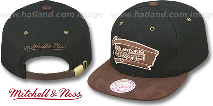 Spurs 'TC-BROWN SUEDE STRAPBACK' Hat Mitchell & Ness : pictured without stickers that these products are shipped with