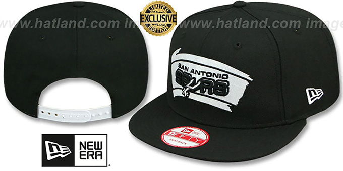 Spurs 'TEAM-BASIC SNAPBACK' Black-White Hat by New Era : pictured without stickers that these products are shipped with