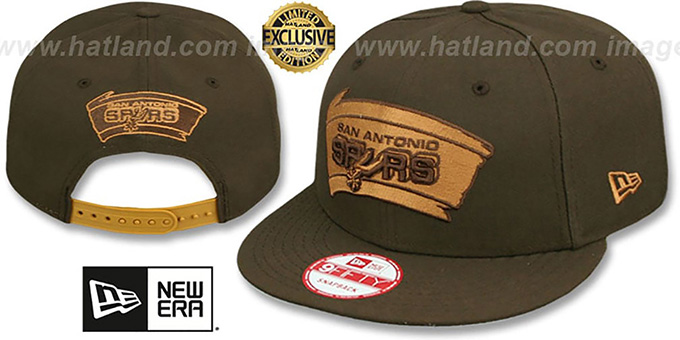 Spurs 'TEAM-BASIC SNAPBACK' Brown-Wheat Hat by New Era : pictured without stickers that these products are shipped with