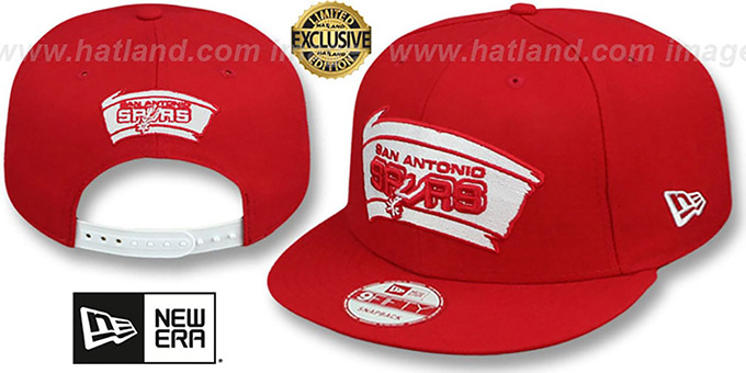 Spurs 'TEAM-BASIC SNAPBACK' Red-White Hat by New Era : pictured without stickers that these products are shipped with