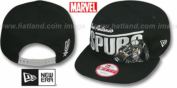 Spurs 'TEAM-HERO SNAPBACK' Black Hat by New Era : pictured without stickers that these products are shipped with