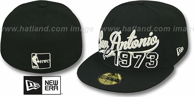 Spurs 'THE BEGINNING' Black Fitted Hat by New Era : pictured without stickers that these products are shipped with