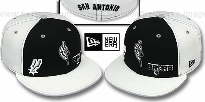 Spurs 'TRIPLE THREAT' Black-White Fitted Hat by New Era : pictured without stickers that these products are shipped with