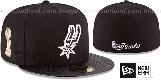 Spurs 'TROPHY-CHAMP' Black Fitted Hat by New Era : pictured without stickers that these products are shipped with