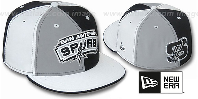 Spurs TWO BIG 'PINWHEEL' Grey-Black-White Fitted Hat : pictured without stickers that these products are shipped with