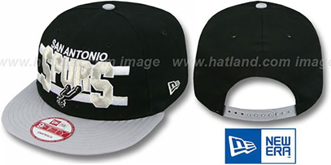 Spurs 'WORDSTRIPE SNAPBACK' Black-Grey Hat by New Era : pictured without stickers that these products are shipped with