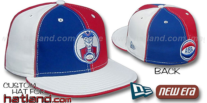 Squires ABA 'PINWHEEL-2' Royal-Red-White Fitted Hat : pictured without stickers that these products are shipped with