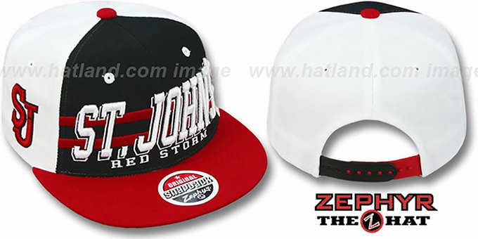 St. Johns '2T SUPERSONIC SNAPBACK' Black-Red Hat by Zephyr : pictured without stickers that these products are shipped with