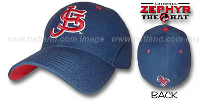 St. Johns 'DH' Fitted Hat by Zephyr - navy : pictured without stickers that these products are shipped with