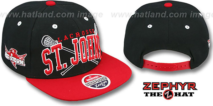 St. Johns 'LACROSSE SUPER-ARCH SNAPBACK' Black-Red Hat by Zephyr : pictured without stickers that these products are shipped with