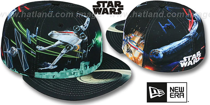 Star Wars 'ALL-OVER BATTLE' Fitted Hat by New Era : pictured without stickers that these products are shipped with