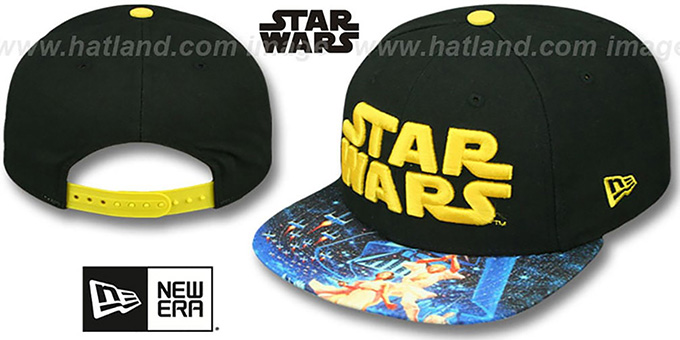 Star Wars 'VIZA-PRINT SNAPBACK' Black Hat by New Era : pictured without stickers that these products are shipped with