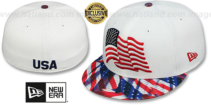 Stars and Stripes 'USA WAVING-FLAG' White Fitted Hat by New Era : pictured without stickers that these products are shipped with