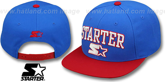 Starter 'ARCH-LOGO SNAPBACK' Royal-Red Hat : pictured without stickers that these products are shipped with