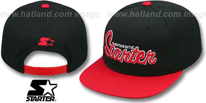 Starter 'AUTHENTIC SCRIPT SNAPBACK' Black-Red Hat : pictured without stickers that these products are shipped with