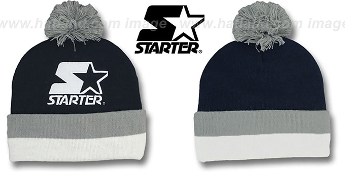 Starter 'S-STAR BEANIE' Navy Knit Hat : pictured without stickers that these products are shipped with