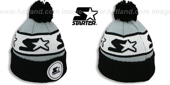 Starter 'S-STAR CLASSIC BOBBLE' Grey-Black Knit Beanie Hat : pictured without stickers that these products are shipped with