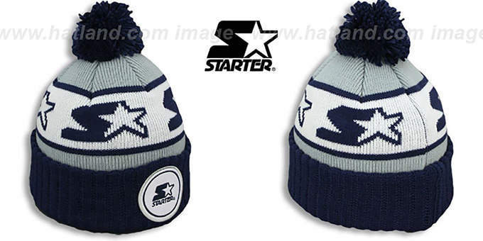 Starter 'S-STAR CLASSIC BOBBLE' Grey-Navy Knit Beanie Hat : pictured without stickers that these products are shipped with