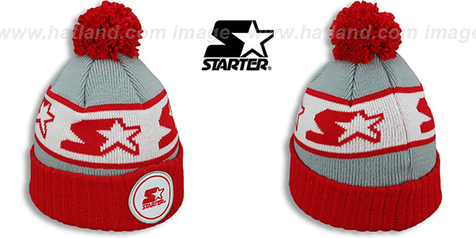 Starter 'S-STAR CLASSIC BOBBLE' Grey-Red Knit Beanie Hat : pictured without stickers that these products are shipped with