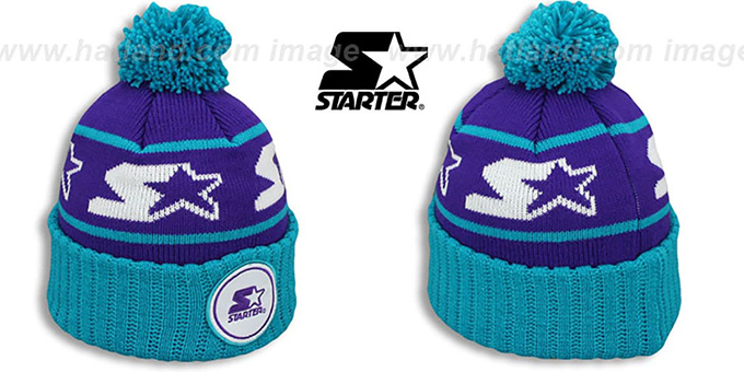 Starter 'S-STAR CLASSIC BOBBLE' Purple-Teal Knit Beanie Hat : pictured without stickers that these products are shipped with