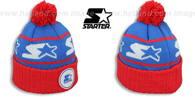 Starter 'S-STAR CLASSIC BOBBLE' Royal-Red Knit Beanie Hat : pictured without stickers that these products are shipped with