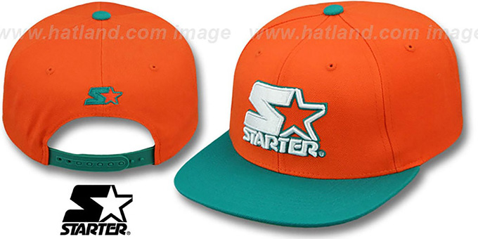 54c0aa3b Starter S-STAR WORDMARK SNAPBACK Orange-Aqua Hat