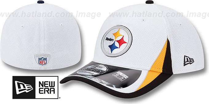 Steelers '2013 NFL TRAINING FLEX' White Hat by New Era : pictured without stickers that these products are shipped with