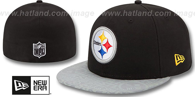 Steelers '2014 NFL DRAFT' Black Fitted Hat by New Era : pictured without stickers that these products are shipped with