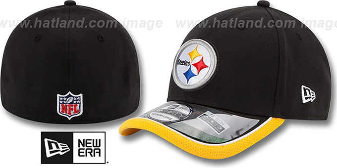 Steelers '2014 NFL STADIUM FLEX' Black Hat by New Era : pictured without stickers that these products are shipped with
