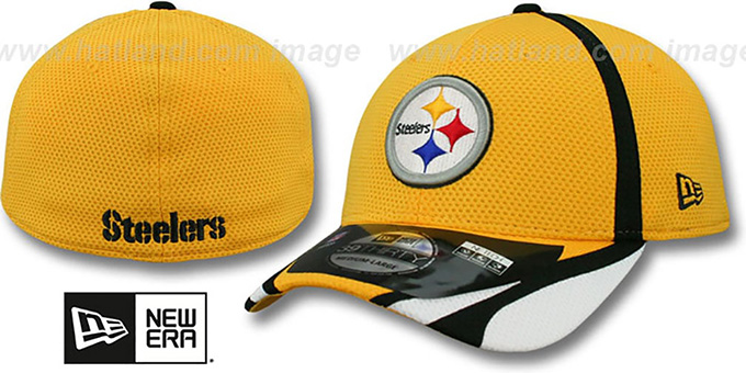 Steelers '2014 NFL TRAINING FLEX' Gold Hat by New Era : pictured without stickers that these products are shipped with
