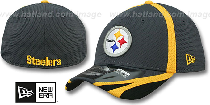 Steelers '2014 NFL TRAINING FLEX' Graphite Hat by New Era : pictured without stickers that these products are shipped with