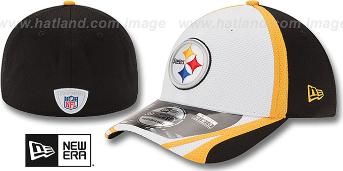 Steelers '2014 NFL TRAINING FLEX' White Hat by New Era : pictured without stickers that these products are shipped with