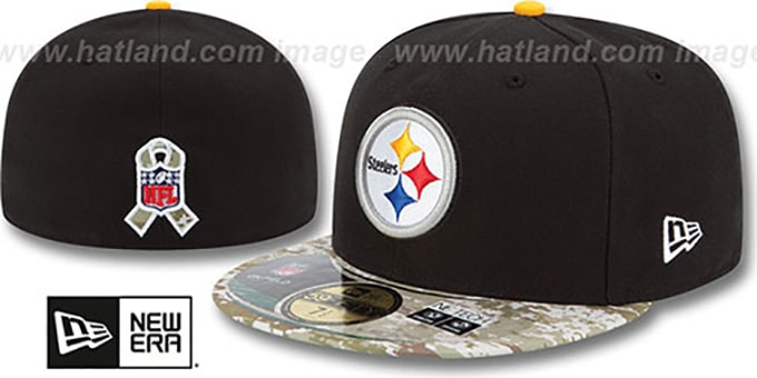 Steelers '2014 SALUTE-TO-SERVICE' Black-Desert Fitted Hat by New Era : pictured without stickers that these products are shipped with
