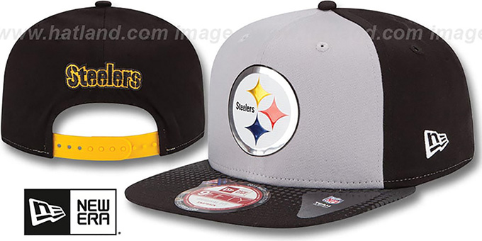 Steelers '2015 NFL DRAFT SNAPBACK' Grey-Black Hat by New Era : pictured without stickers that these products are shipped with