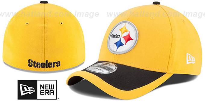 Steelers '2015 NFL STADIUM FLEX' Gold-Black Hat by New Era : pictured without stickers that these products are shipped with