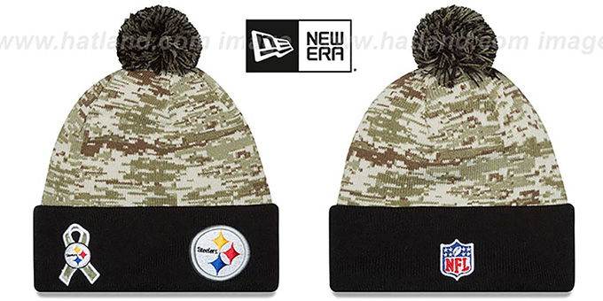 Steelers '2015 SALUTE-TO-SERVICE' Knit Beanie Hat by New Era : pictured without stickers that these products are shipped with