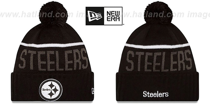 Steelers '2015 STADIUM' Black-White Knit Beanie Hat by New Era : pictured without stickers that these products are shipped with
