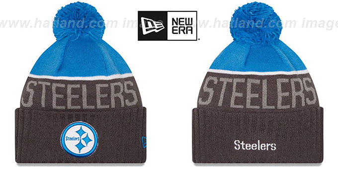 Steelers '2015 STADIUM' Charcoal-Blue Knit Beanie Hat by New Era : pictured without stickers that these products are shipped with