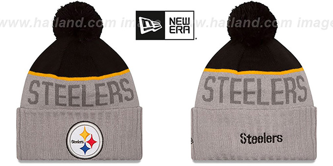 Steelers '2015 STADIUM' Grey-Black Knit Beanie Hat by New Era : pictured without stickers that these products are shipped with