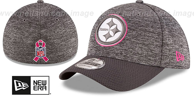 Steelers '2016 BCA FLEX' Grey-Grey Hat by New Era : pictured without stickers that these products are shipped with