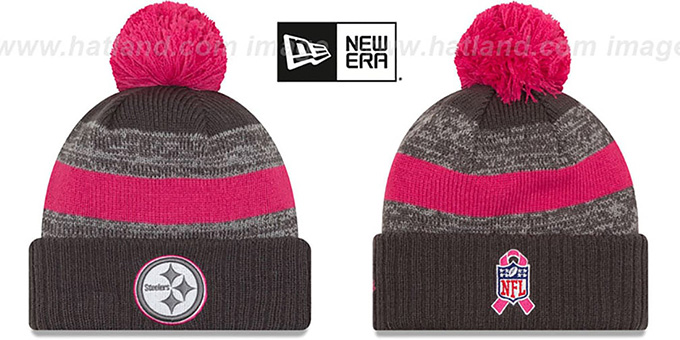 Steelers '2016 BCA STADIUM' Knit Beanie Hat by New Era : pictured without stickers that these products are shipped with