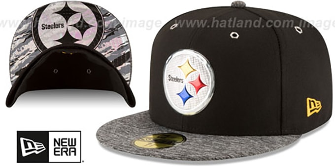 Steelers '2016 MONOCHROME NFL DRAFT' Fitted Hat by New Era : pictured without stickers that these products are shipped with