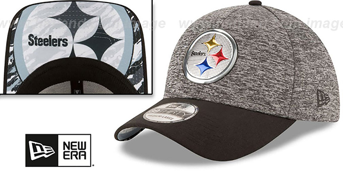 Steelers '2016 MONOCHROME NFL DRAFT FLEX' Hat by New Era : pictured without stickers that these products are shipped with