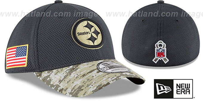 Steelers '2016 SALUTE-TO-SERVICE FLEX' Grey-Desert Hat by New Era : pictured without stickers that these products are shipped with