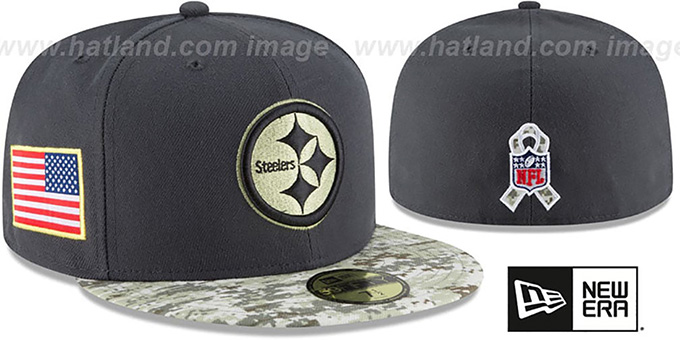 Steelers '2016 SALUTE-TO-SERVICE' Grey-Desert Fitted Hat by New Era : pictured without stickers that these products are shipped with