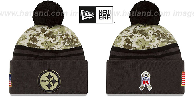Steelers '2016 SALUTE-TO-SERVICE' Knit Beanie Hat by New Era : pictured without stickers that these products are shipped with